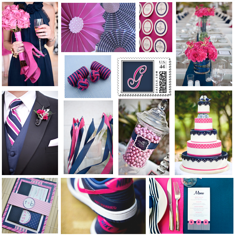 Dallas Wedding Planner, Navy and Pink Wedding, Navy and Fuschia Wedding, Dallas Event Planner, Dallas Party Planner, Inspiration Board