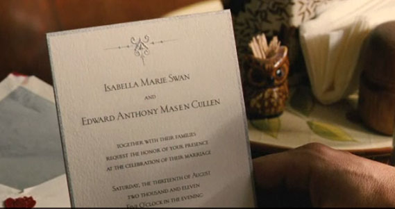 Dallas Wedding Planner, Dallas Party Planner, Twilight Saga, Breaking Dawn, Cullen Wedding, Edward and Bella's Wedding Invitation